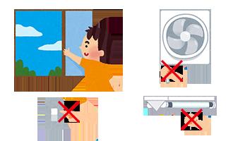 窓やドアを開けて空気の入れ替え(換気)をお願いします。その際、換気扇や電気のスイッチ、コンセントなどは絶対に触らないでください。